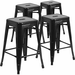 IntimaTe WM Heart Bar Stools 24 Inch Backless Bar Chairs Counter Stools Metal Bar Stool Tolix Style 24 Inch Kitchen Stools Set O
