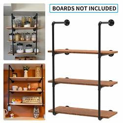 Industrial Wall Mount Iron Pipe Shelf Brackets Vintage Retro Black Pipe Shelving For Diy Shelves Open Bookshelf Storage Office Room Kitchen - 4 Tier