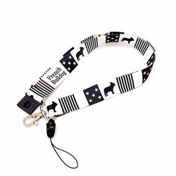 """Frenchic French Bulldog Fabric Key Lanyard Neck Strap With Safety Breakaway Clip Black Stars And Stripe Wide 1"""" For Id Card Mobile Phone Badge Holder"""