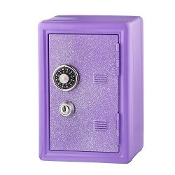 AY SMART INC. Kids Safe Bank Made Of Metal With Key And Combination Lock Purple
