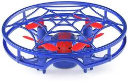 Inductive Aored Remote Control Voice Function Headless Mode Fixed Height Remote Control Aircraft Four-axis Indoor Entertainment Beginner Intelligent Child Adult Flight Toy Quadcopter Color : Blue