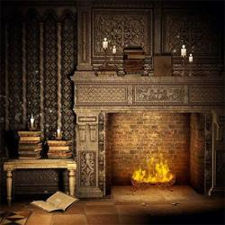 Laeacco Fantasy Room Interior Backdrop 10X10FT Vinyl Photography Background Flame And Fireplace Magical Books Candle Retro House Background