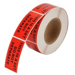 """MFLABEL 2 Rolls """"this Is A Set Do Not Separate"""" Labels Stickers 1""""X2"""" Red Fba Shipping Labels - 1 000 Labels"""