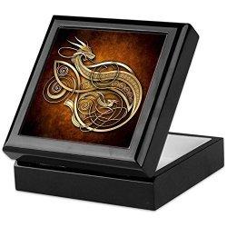 CafePress - Gold Norse Dragon - Keepsake Box Finished Hardwood Jewelry Box Velvet Lined Memento Box
