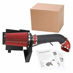SUPERFASTRACING 4 Cold Air Intake System + Heat Shield For 1999-2006 Gmc chevy V8 4.8L 5.3L 6.0L Silverado 1500 2500 3500 Black&red