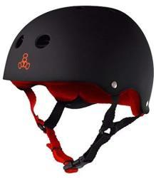 Triple 8 Sweatsaver Liner Skateboarding Helmet Black Rubber W Red M