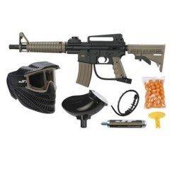 JT Tactical Rtp Tan Kit With Mask+hopper+50paintballs+90gco2