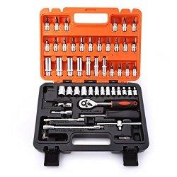 Pavlit 53PCS Auto Car Repair Tool Box Set Ratchet Wrench Sleeve Universal Joint Hardware Kit