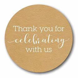 "Sblabels 1.5"" Thank You For Celebrating With Us Stickers wedding Favor Stickers baby Shower Favor Sticker 500 Labels Per Roll"