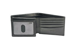 Stealth Mode Black Leather Bifold Wallet For Men With Id Window And Rfid Blocking One Size