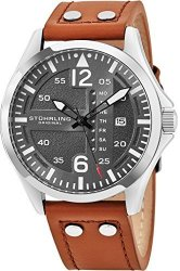 Stuhrling Original Mens Analog Stainless Steel Sport Aviator Watch Quick-set Day-date Brown Casual Leather Strap