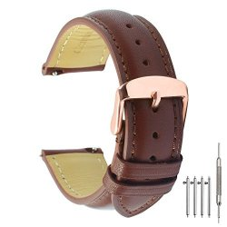 715fe6498 QUICK RELEASE Leather Watch Band 20MM Brown Replacement Watch Strap Genuine  Polished Watch Clasp Buckle Gold Rose Padded Soft 18MM 20MM 22MM