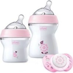 Chicco Natural Feeling Feeding Gift Set Girl Pink