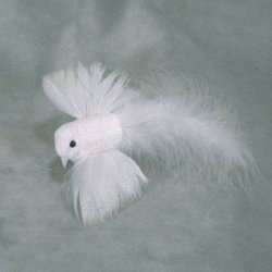 Factory Direct Craft Decorative Artificial Long Tailed Feathered Flying Dove Birds On Clip- Package Of 12