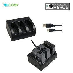 Wocase Charger Charging Cable For Gopro HERO5 Portable Charges 3 Batteries Simultaneously