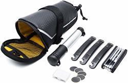 Bike Mocoe Repair Bag - 7 In 1 Multi-function Tool Kits Set With Bicycle Saddle Bag - MINI Pump Tire Inflator Patch Crowbar
